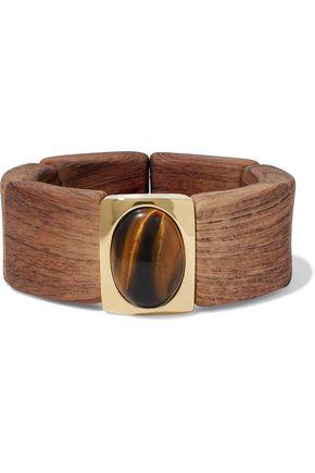KENNETH JAY LANE Gold tone, wood and stone bracelet