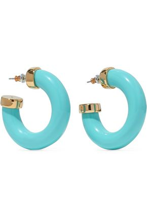 KENNETH JAY LANE Gold-tone stone hoop earrings