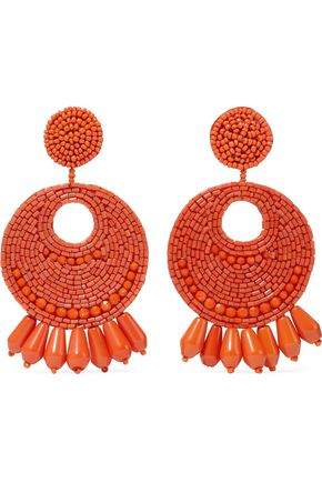 KENNETH JAY LANE Burnished gold-tone beaded clip earrings