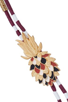 MAJE Gold-tone, enamel, cord and tassel necklace
