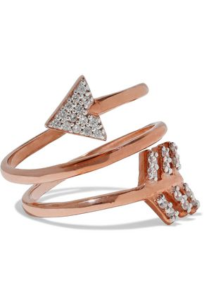 AAMAYA by PRIYANKA Spiral Arrow rose gold-plated sterling silver crystal ring