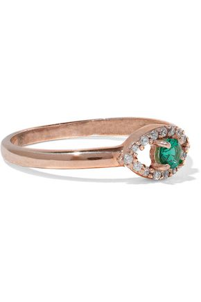 AAMAYA by PRIYANKA Evil Eye rose gold vermeil, emerald and crystal ring