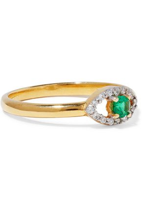 AAMAYA by PRIYANKA Gold-plated sterling silver, emerald and crystal ring