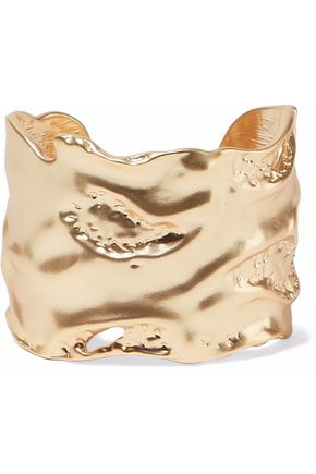KENNETH JAY LANE Hammered gold-tone cuff
