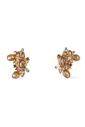 BEN-AMUN Gold-tone Swarovski crystal clip earrings