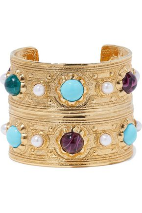 BEN-AMUN Hammered gold-tone, faux pearl and stone cuff