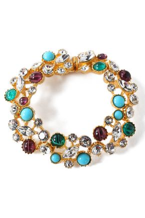 BEN-AMUN Gold-tone, stone and crystal bracelet