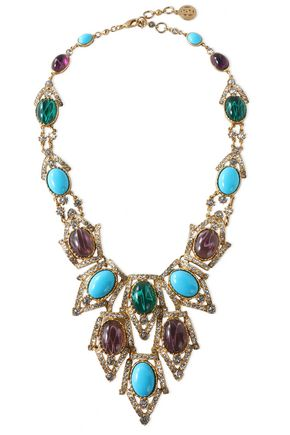 BEN-AMUN Gold-tone, stone and crystal necklace