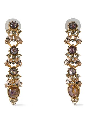 BEN-AMUN Gold-tone, stone and crystal earrings