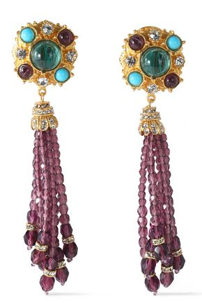 BEN-AMUN Gold-tone Swarovski crystal and stone clip earrings