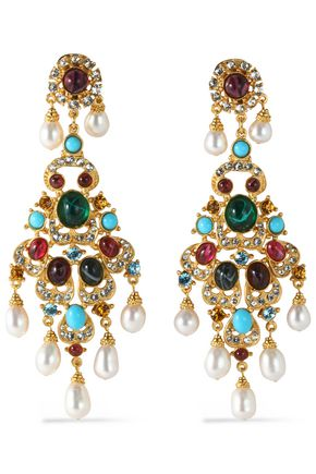 BEN-AMUN Gold-tone, faux pearl, stone and crystal clip earrings