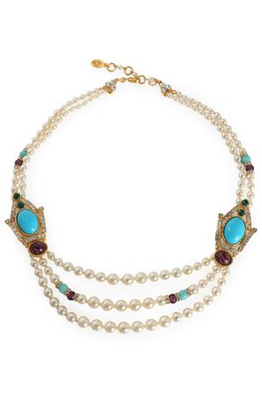 BEN-AMUN Gold-tone, stone and crystal beaded necklace
