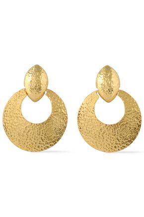 BEN-AMUN Hammered gold-tone clip earrings