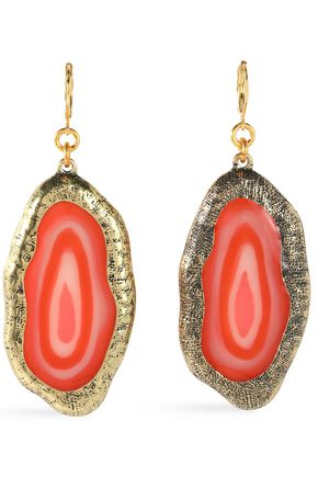 KENNETH JAY LANE Hammered gold-tone stone earrings