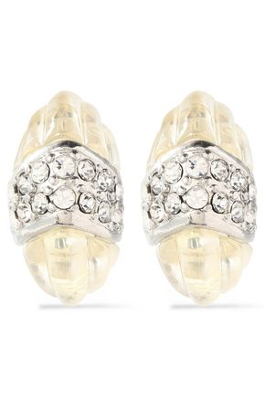 KENNETH JAY LANE Crystal and resin clip earrings