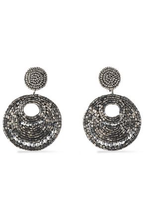 KENNETH JAY LANE Gunmetal-tone bead and crystal earrings