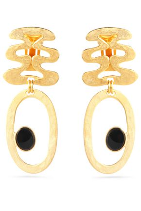BEN-AMUN Hammered gold-tone resin earrings