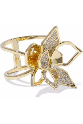 NOIR JEWELRY Gold-tone crystal ring