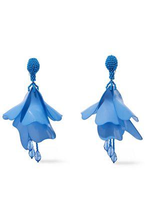 OSCAR DE LA RENTA Gunmetal-tone, bead and coated resin clip earrings