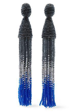 OSCAR DE LA RENTA Silver-tone beaded tassel clip earrings