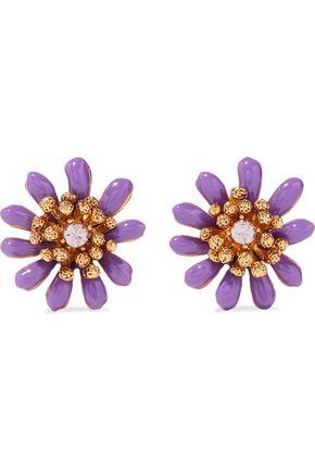 OSCAR DE LA RENTA Gold-tone, enamel and crystal earrings