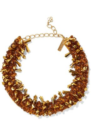 OSCAR DE LA RENTA Gold-tone, bead and satin necklace