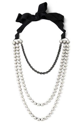 LANVIN Silver-tone, faux pearl, crystal and grosgrain necklace