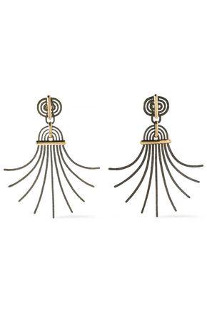 LANVIN Elvira hammered burnished gold-tone clip earrings