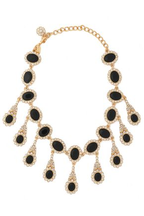 KENNETH JAY LANE Gold-tone, stone and crystal necklace