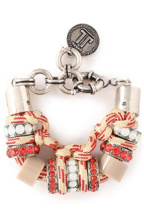 LANVIN Silver-tone, cord, resin and crystal bracelet