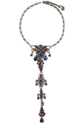 LANVIN Oxidized gunmetal-tone crystal necklace