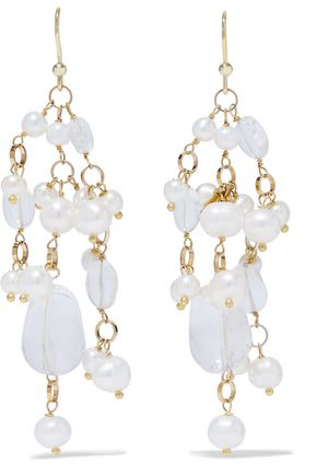 ROSANTICA Kiwi gold-tone, freshwater pearl and stone earrings