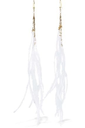 ROSANTICA Gold-plated pearl and feather earrings