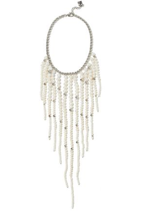 ROSANTICA Marea silver-tone, freshwater pearl and bead necklace