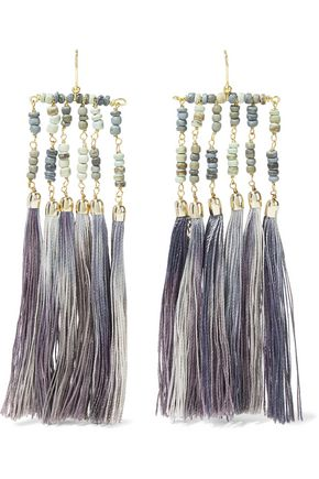 ROSANTICA Havana tasseled gold-tone and bead earrings