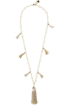 ROSANTICA Opera gold-tone, freshwater pearl and tassel necklace
