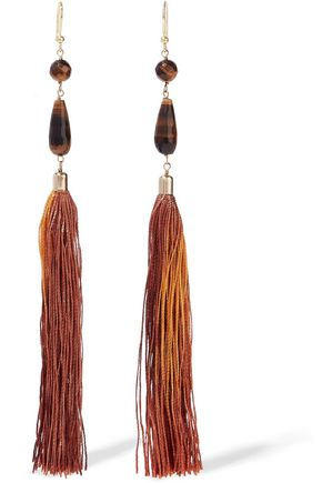 ROSANTICA Gold-tone, bead and tassel earrings