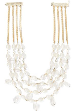 ROSANTICA Kiwi gold-tone, freshwater pearl and crystal necklace