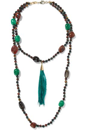 ROSANTICA Bosco gold-tone, bead, stone and feather necklace