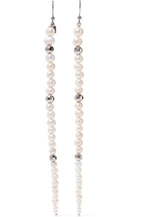 ROSANTICA Silver-plated, bead and freshwater pearl earrings