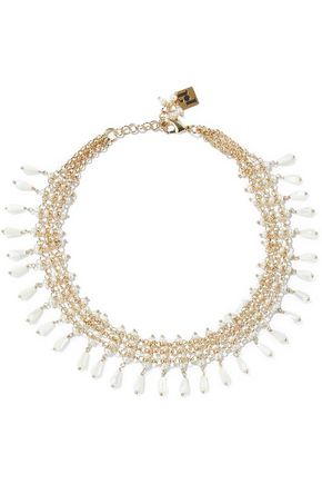ROSANTICA Nuova Orchidea gold-tone, faux pearl and bead necklace