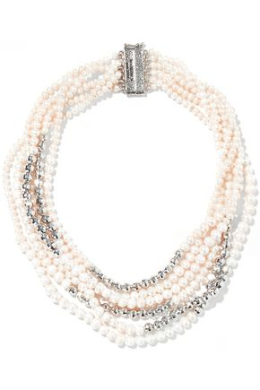 ROSANTICA Giglio silver-tone, faux pearl and bead necklace