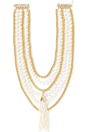 ROSANTICA Nebbia tasseled gold-tone freshwater pearl necklace