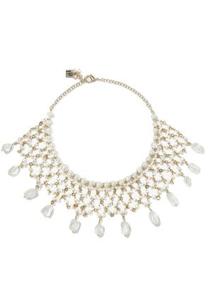 ROSANTICA Pesco gold-tone, freshwater pearl and crystal necklace