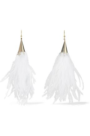 ROSANTICA Gold-tone, faux pearl and feather earrings