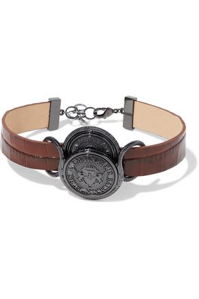 BALMAIN Gunmetal-tone and croc-effect leather choker