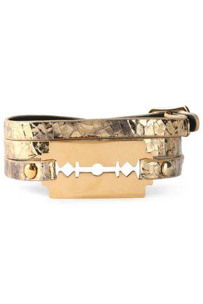 McQ Alexander McQueen Gold-tone metallic cracked-leather bracelet