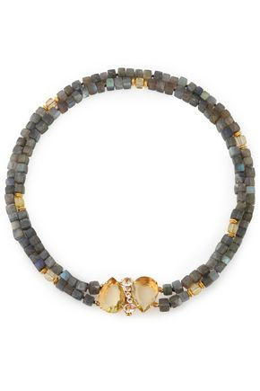 BOUNKIT Gold-tone quartz and labradorite necklace