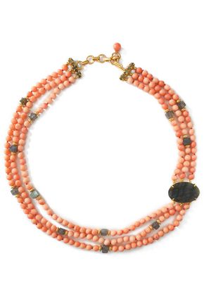 BOUNKIT Gold-tone, stone and bead choker