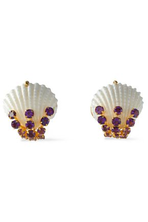 BOUNKIT Gold-tone, amethyst and shell earrings